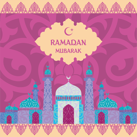 abstention: Ramadan greeting with the image of the mosque