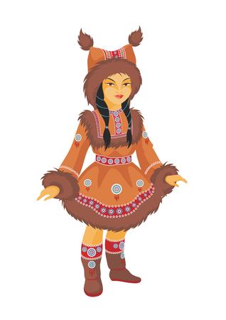 esquimales: la niña del Chukchi en un traje nacional Vectores
