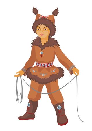 esquimales: el ni�o los Chukchi en un traje nacional