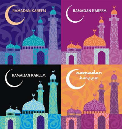 abstention: Ramadan greeting set with the image of the mosque