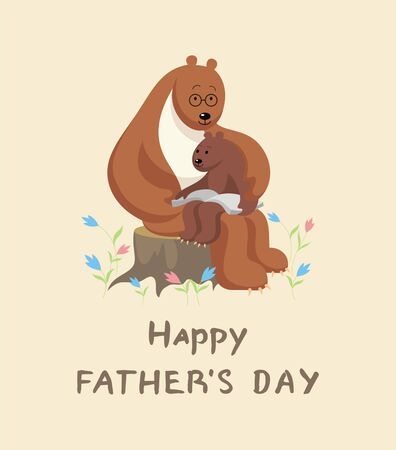 bear cub: the little bear cub sits at the Big Daddy of a bear on a lap and reads the big book. fathers day greeting