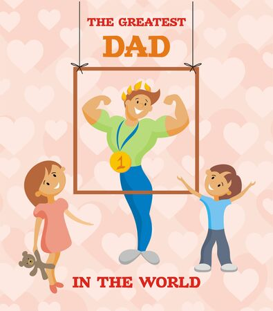 greatest: fathers day greeting card. comic image of the father and his children Illustration