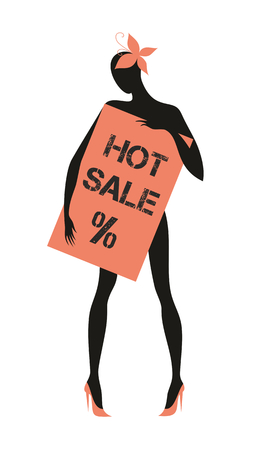 hold high: the dummy holds the plate with the word sale. design element, silhouette Illustration