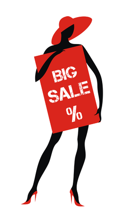big woman: the dummy holds the plate with the word sale. design element, silhouette Illustration