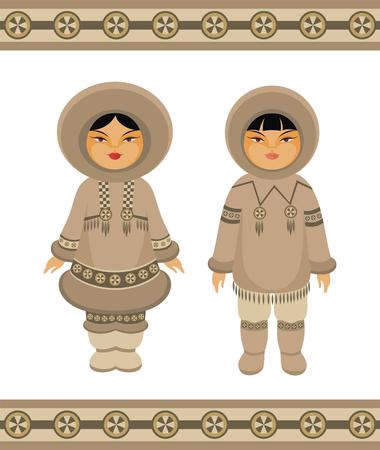 esquimales: niña y niño esquimales en la ropa tradicional