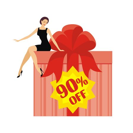 sits: young beautiful woman sits on a huge gift box with a sticker 90% off