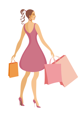 hold high: the young beautiful girl in a sundress holds bags with purchases Illustration