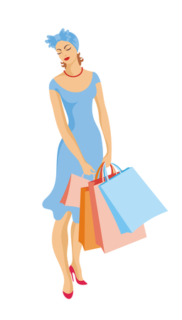 hold high: the image of the young beautiful woman with purchases in a retro style Illustration