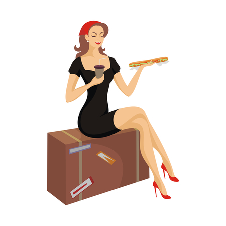 eats: the beautiful lady eats a sandwich and has coffee sitting on a suitcase Illustration