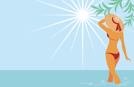 midday: beautiful tanned lady in a hat standing in the sea looking at the sun. Background