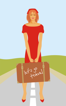 impudent: a young girl hitchhiking Illustration
