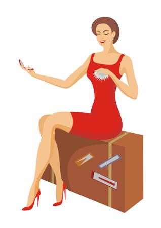 sentarse: la bella dama sentada hace aseo en una maleta Vectores