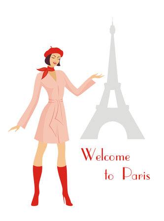 raincoat: the young beautiful girl in a raincoat and a beret points to the Eiffel Tower Illustration