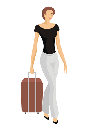 castors: the beautiful lady in trousers goes with a suitcase on castors Illustration