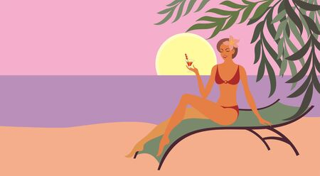 lounge chair: young woman drinking a cocktail while sitting in a lounge chair on the beach. Background