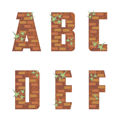 bricklaying: the capital letters of the Latin alphabet stylized in the form of a bricklaying Illustration