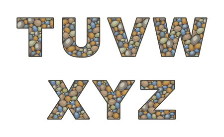 stonework: the capital letters of the Latin alphabet stylized in the form of a stone laying Illustration