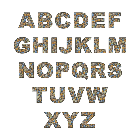 the capital letters of the Latin alphabet stylized in the form of a stone laying