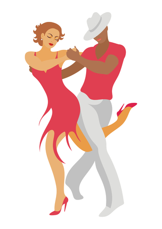 lady and gentleman dance salsa  イラスト・ベクター素材