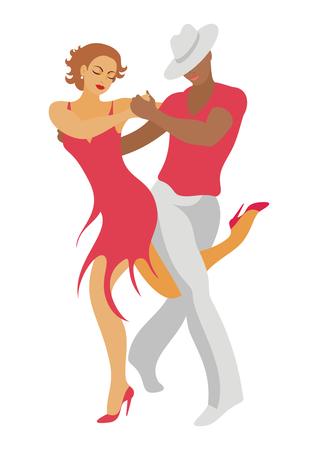 lady and gentleman dance salsa Illustration