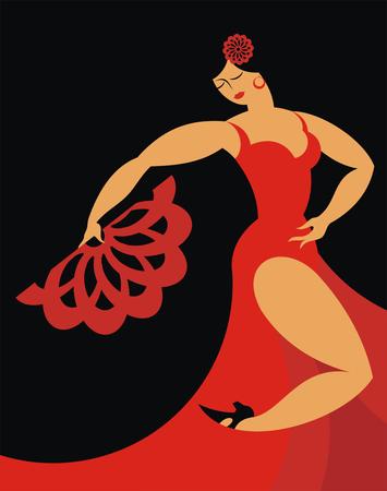 de danser van een flamenco in een rode jurk op een zwarte achtergrond