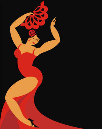 big woman: the dancer of a flamenco in a red dress on a black background