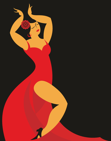 spanish fan: the dancer of a flamenco in a red dress on a black background