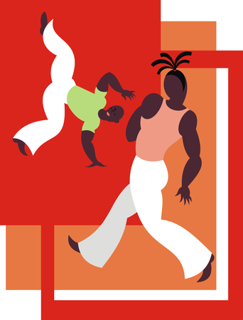 afroamerican: the fighters of the national Brazilian martial art capoeira Illustration