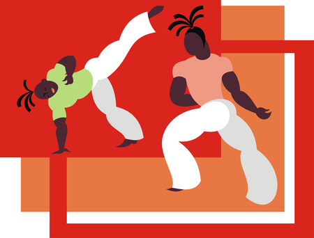 the fighters of the national Brazilian martial art capoeira 일러스트