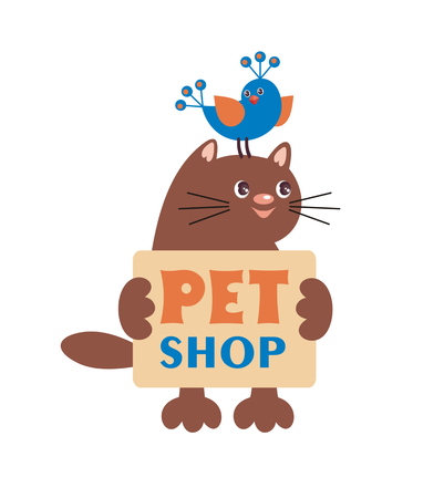 petshop: inscription pet-shop with images of pets. a design element can be used in the design of business cards, flyers, newsletters Illustration