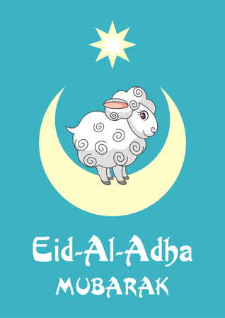 bayram: Eid al-Adha greeting card with the image of the sacrificial lamb and Crescent
