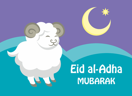 half moon: Eid al-Adha greeting card with the image of a sacrificial ram and a half moon