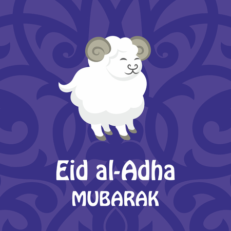bayram: Eid al-Adha greeting card with the image of a sacrificial ram