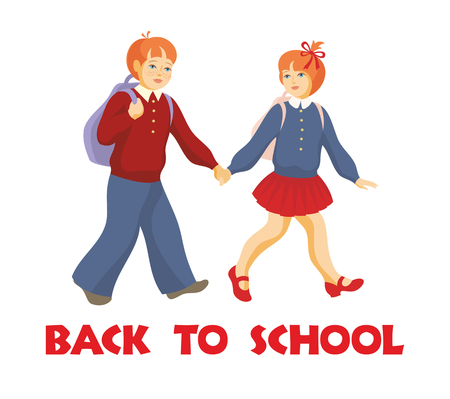 go back: back to school. the boy and the girl go to school Illustration