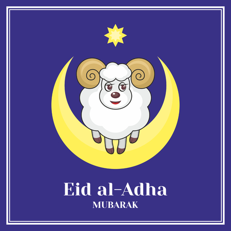 bayram: Eid al-Adha greeting card with the image of a sacrificial ram and a half moon