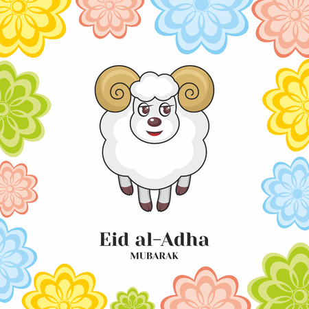 bayram: Eid al-Adha greeting card with the image of a sacrificial ram