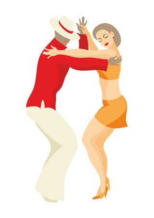 女性および紳士は、ラテン アメリカのサルサを踊る  イラスト・ベクター素材
