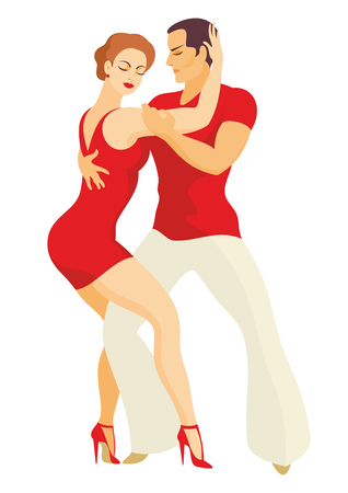 men and women: lady and gentleman dance Latin America salsa Illustration