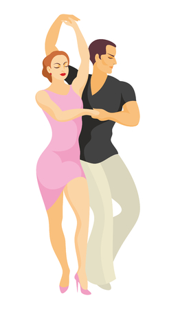 lady and gentleman dance Latin America salsa Illustration