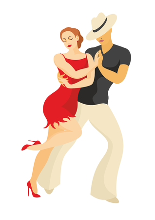 lady and gentleman dance Latin America salsa  イラスト・ベクター素材
