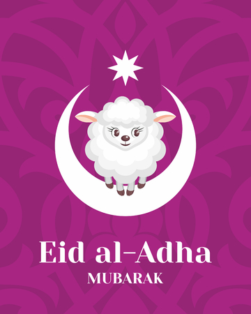 image lamb: Eid al-Adha greeting card with the image of the sacrificial lamb and Crescent