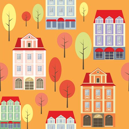 rapport: seamless pattern with the image of old town houses and trees. autumn cityscape.