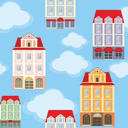 rapport: seamless pattern with the image of old town houses and clouds.