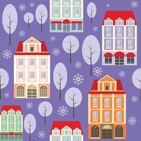 rapport: seamless pattern with the image of old town houses, trees and snowflakes. winter cityscape.