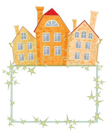 old town: frame with the image of old town houses and ive