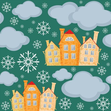 seamless pattern with the image of old town houses, clouds, and snowflakes. winter cityscape.