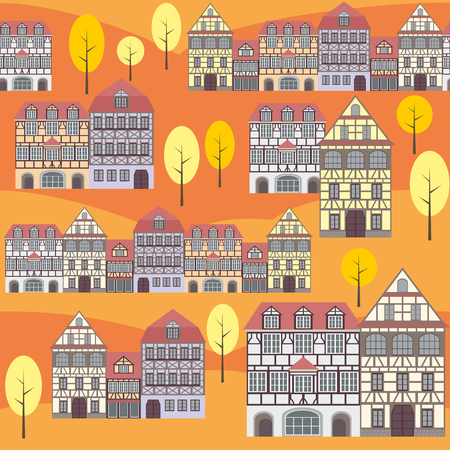 fachwerk: seamless pattern with the image of old town houses and trees. autumn cityscape.