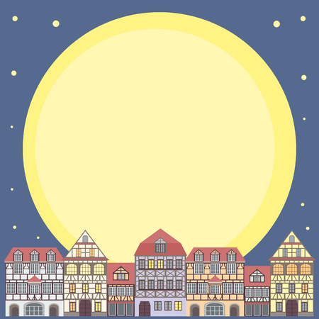 fachwerk: background with the image of old town houses and full moon. night cityscape.