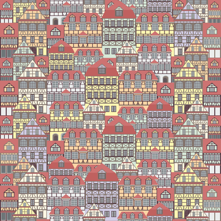 rapport: seamless pattern with the image of old houses in half-timbered style