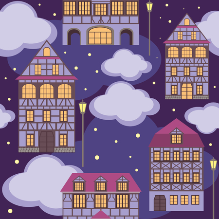 fachwerk: seamless pattern with the image of old town houses and clouds. night cityscape.
